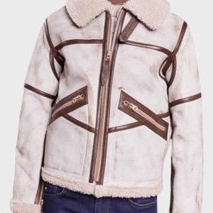 Material: Real Leather Inner: Shearling Lining Closure: Front Zipper Closure Collar: Shearling Collar Cuffs: Shearling Cuffs Color: Waxed White