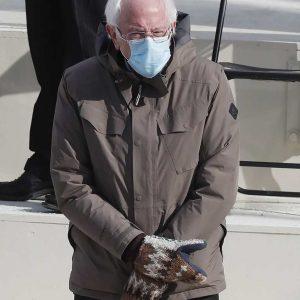 Bernie Sanders Brown Cotton Jacket With Hood