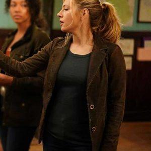 Jenny Hoyt Big Sky Katheryn Winnick Brown Suede Leather Blazer Coat