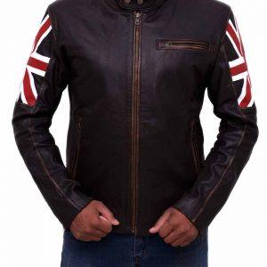 United Kingdom Flag Vintage Cafe Racer Distressed Brown Leather Jacket