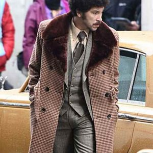 Joel Fry Cruella 2021 Jasper Checked Coat with Shealing Collar