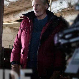 John Peterson Falling 2021 Viggo Mortensen Red Cotton Parka Jacket