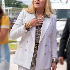 Kim Cattrall TV Series Filthy Rich Margaret Monreaux White Cotton Coat