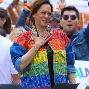 Kamala Harris Gay Pride Flag Denim Rainbow Jacket