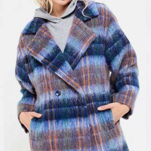Hope Davis Love Life Claudia Hoffman Blue Plaid Wool-blend Coat