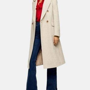Sara Yang Love Life Zoe Chao Herringbone Coat with Shearling Collar