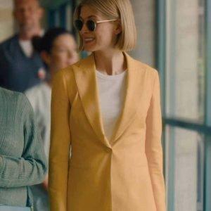 Rosamund Pike I Care a Lot Marla Grayson Yellow Blazer