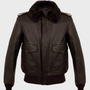 Aviator Brown A2 Bomber Shearling Leather Jacket for Mens