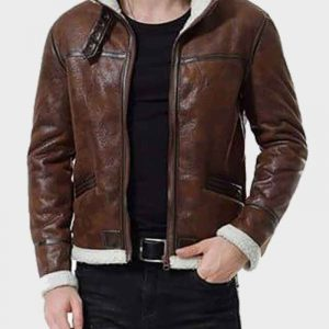 Aviator Mens Distressed Brown Shearling Leather Jacket