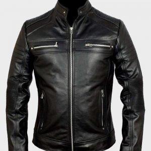 Cafe Racer Mens Black Classic Biker Leather Jacket