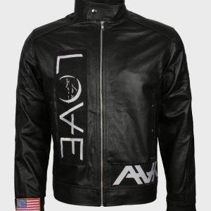 Love Cafe Racer Black Leather Jacket For Mens