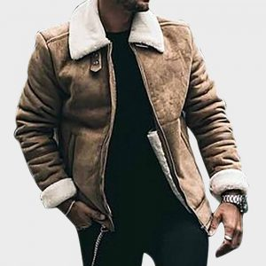 Aviator Mens Brown Sheepskin Leather Jacket with Shearling Collar