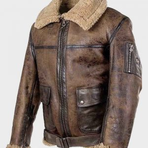 Mens Distressed Leather Brown Aviator Shearling Jacket