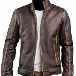 Stylish Brown Distressed Leather Men's Cafe Racer Jacket