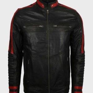 Red & Black Cafe Racer Leather Jacket for Mens