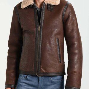 B3 Mens Dark Brown Aviator Style Leather Jacket