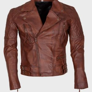 Mens Distressed Brown Biker Motorcycle Leather Jacket