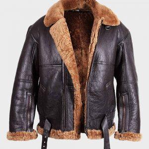 Brown B3 Mens Flying Aviator Sheepskin Shearling Leather Jacket
