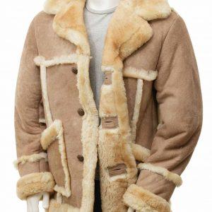 Sand Sheepskin Mens Brown Leather Shearling Coat