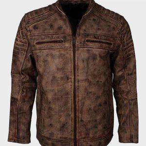Vintage Distressed Brown Waxed Mens Motorcycle Leather Jacket