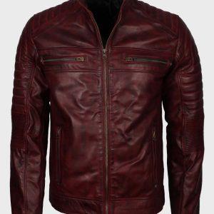 Vintage Waxed Maroon Cafe Racer Mens Leather Biker Jacket