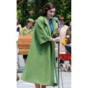 Rachel Brosnahan TV Series The Marvelous Mrs Miriam Maisel Wool Green Coat