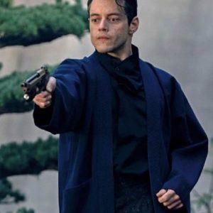 Safin No Time to Die Rami Malek Blue Wool Coat