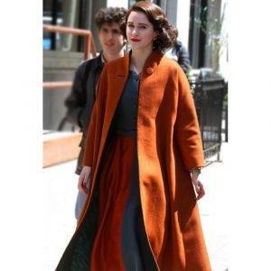 The Marvelous Mrs. Maisel Rachel Brosnahan Orange Trench Wool Coat