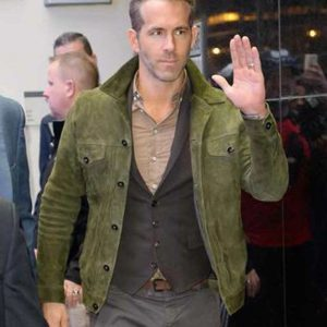 Ryan Reynolds Red Notice 2021 Green Suede Leather Jacket