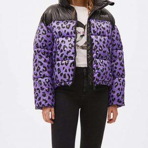 Sara Yang Love Life Zoe Chao Black and Purple Puffer Leopard Jacket