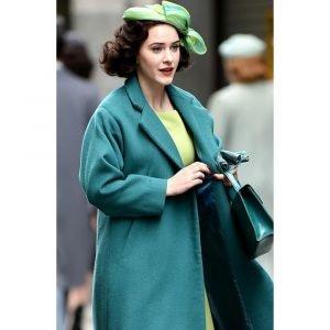Rachel Brosnahan The Marvelous Mrs. Maisel Trench Sea Green Coat