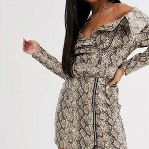 Alex Newell Zoey's Extraordinary Playlist Mo Snake Skin Mini Leather Dress