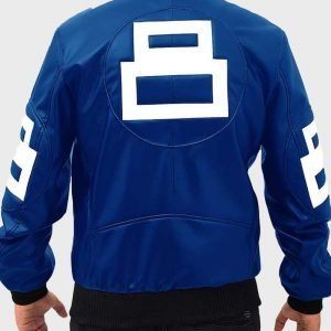 David Puddy TV Series Seinfeld 8 Ball Bomber Blue Leather Jacket