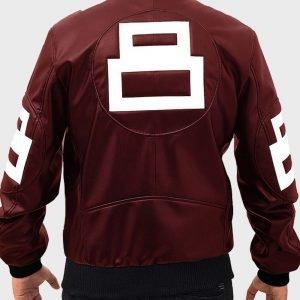 Maroon Leather Bomber Jacket 8 Ball