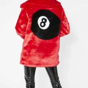 Women's 8 Ball Red Faux Fur Jacket