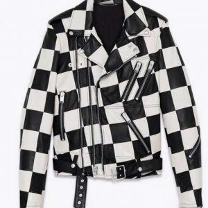 Paris Buckingham Black and White Bold and the Beautiful Checkered Moto Jacket