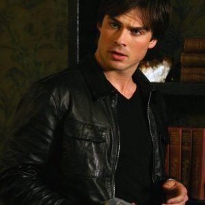 Ian Somerhalder The Vampire Diaries Damon Salvatore Black Leather Jacket