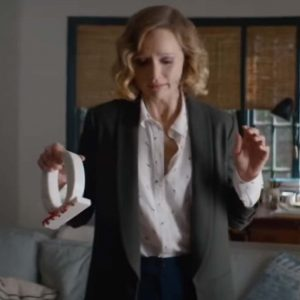 Kerry Bishé Happily 2021 Janet Black Wool-Blend Trench Coat