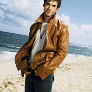 Brown Leather Ian Somerhalder TV Series Vampire Diaries Jacket