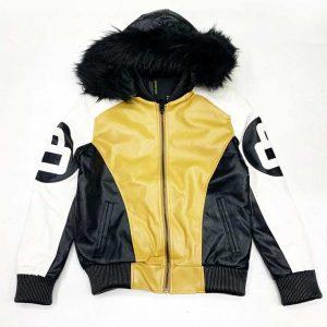 8 Ball Fur Hooded Khaki and White Leather Jacket