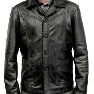 Jackie Killing Them Softly Brad Pitt Black Leather Jacket