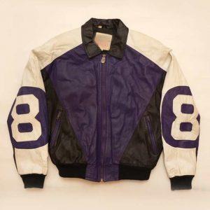 "Purple and Black Michael Hoban ""8 ball"" Leather Jacket"