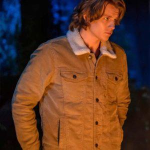 Alex Saxon TV series Nancy Drew Ace Brown Fur Collar Jacket
