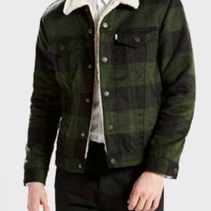 Luke Perry Riverdale Fred Andrews Green Plaid Sherpa Jacket