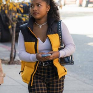 Laya DeLeon Hayes The Equalizer 2021 Delilah Winter Yellow Puffer Vest