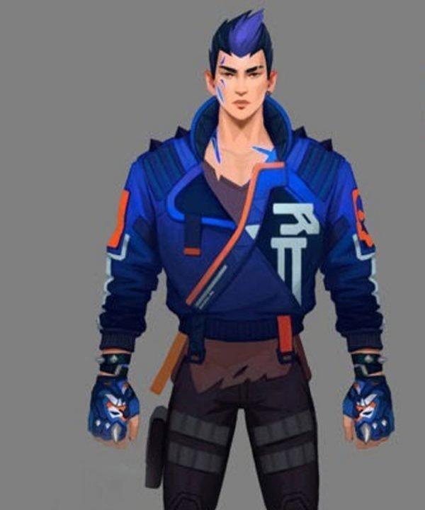 Blue Leather Yoru Video Game Valorant Jacket