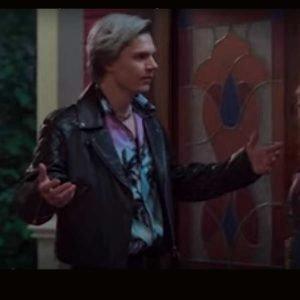 Evan Peters WandaVision 2021 Pietro Maximoff Black Leather Jacket