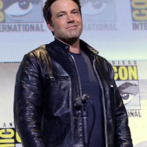 Justice League Ben Affleck Black Leather Zack Snyders Jacket