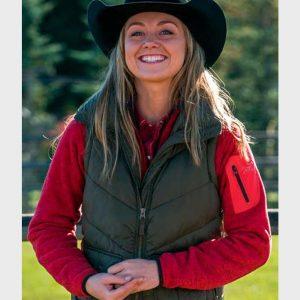 Amber Marshall Heartland Amy Fleming Green Puffer Vest