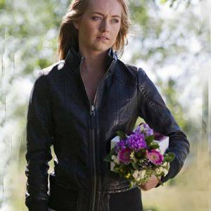 Amber Marshall TV Series Heartland Amy Fleming Black Leather Jacket